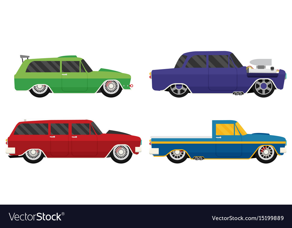 Old school car set flat Royalty Free Vector Image