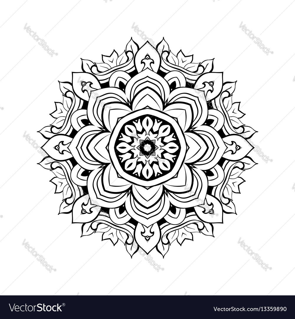 Mandala floral decorative element Royalty Free Vector Image