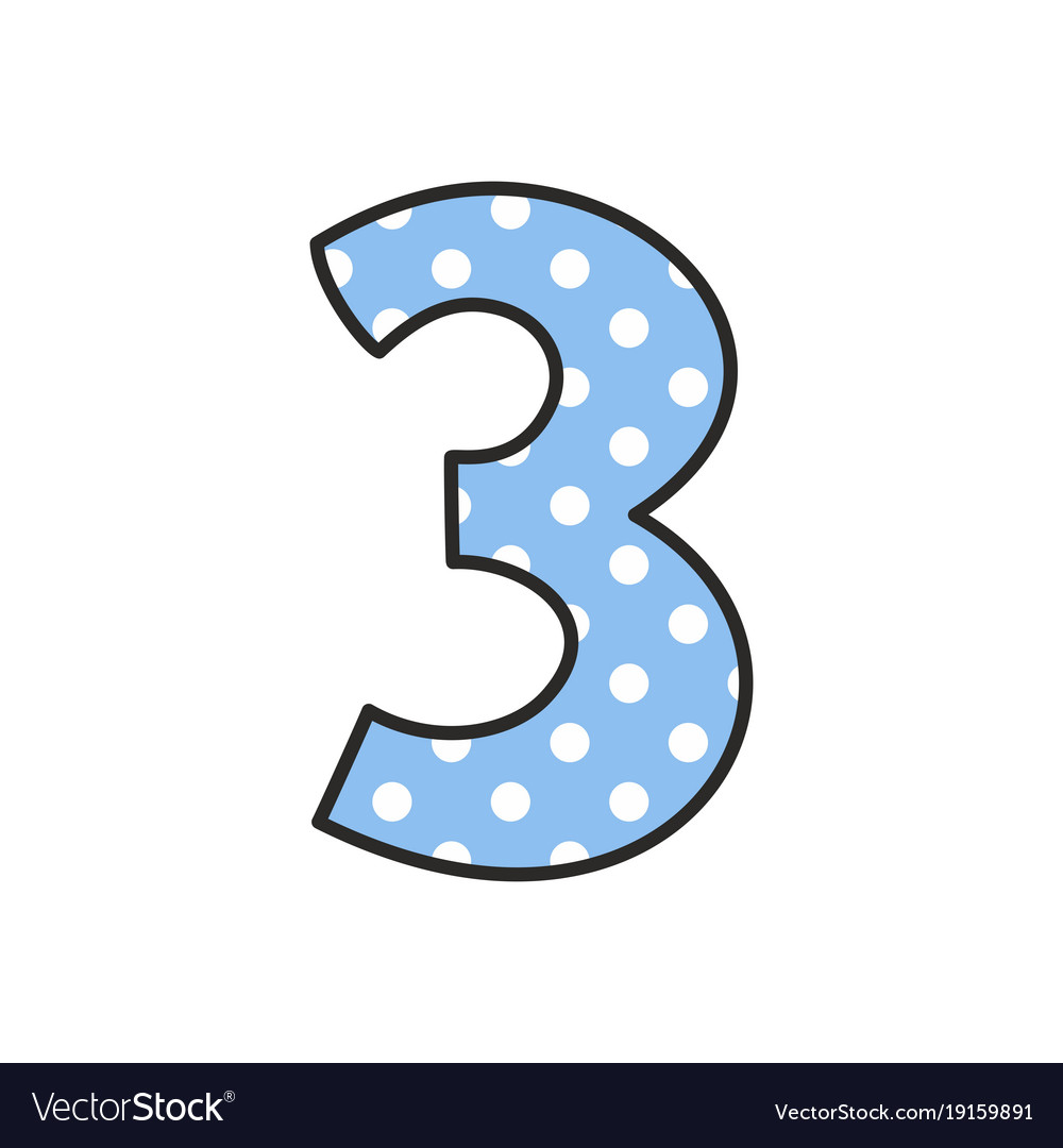 Hand drawn number 3 with polka dots on pastel blue hand drawn number 3 with polka dots on pastel blue vector image biocorpaavc