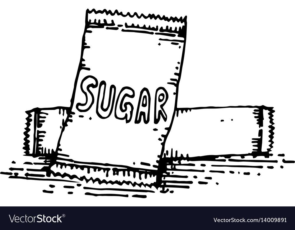 Sugar in packaging hand drawing vector image