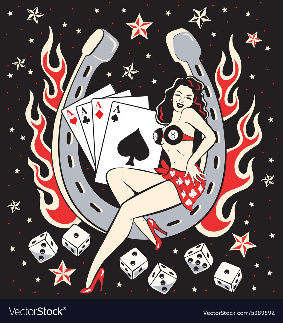 Create A Rockabilly Poster With Vector Set 22: Lady Luck Royalty Free Vector Image