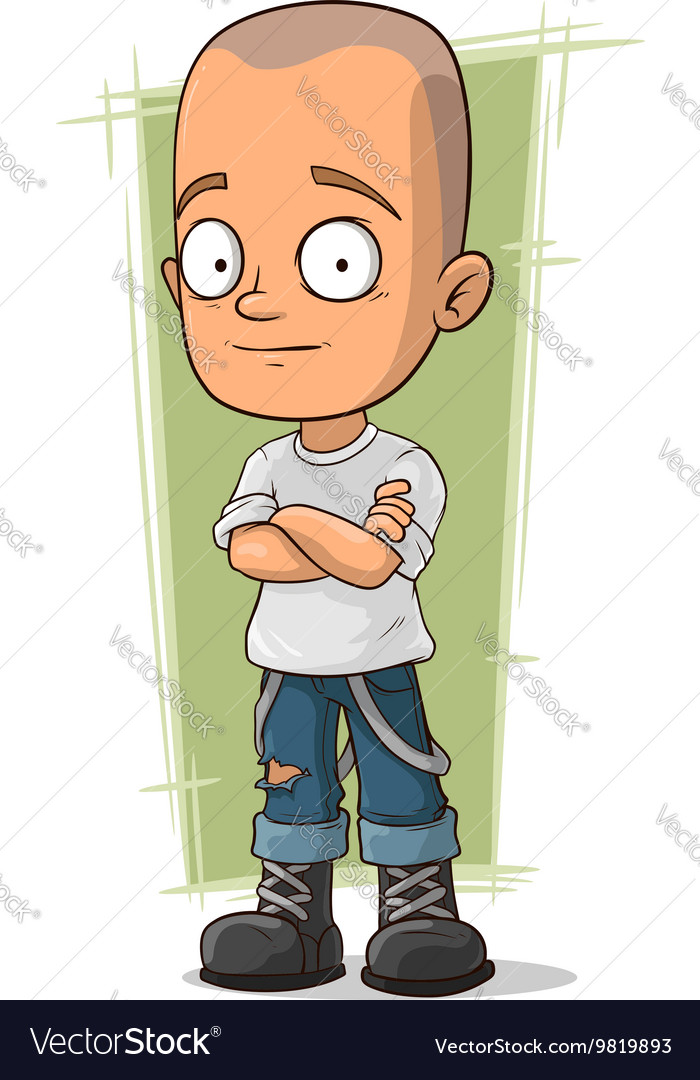 Cartoon skinhead in jeans with suspenders vector image