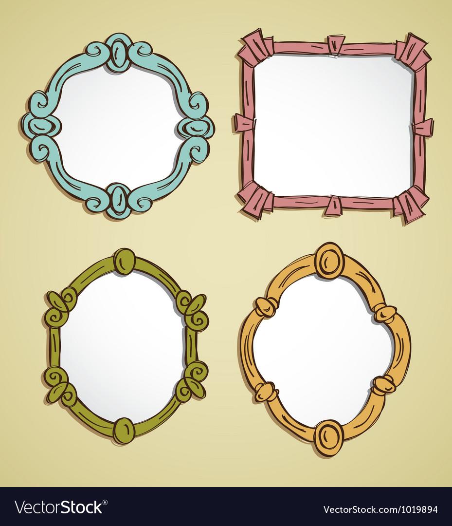 Vintage frame doodle vector image