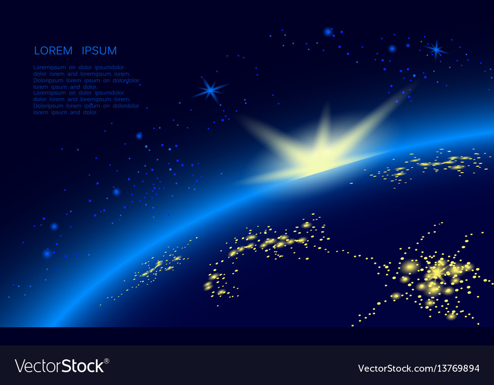 A planet in blue space full of stars the sun vector image