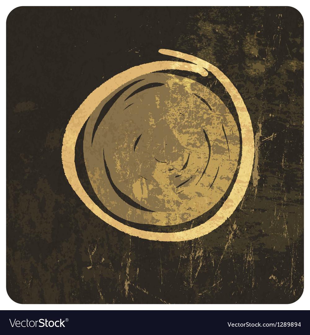Grunge circle symbol hand drawn vector image