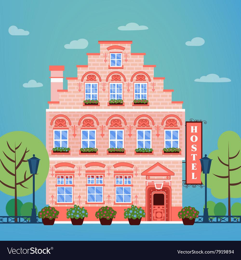Hotel Building Facade Vintage European City Hostel vector image
