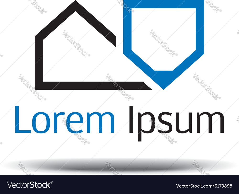 Logo design architecture the house layout pen vector image
