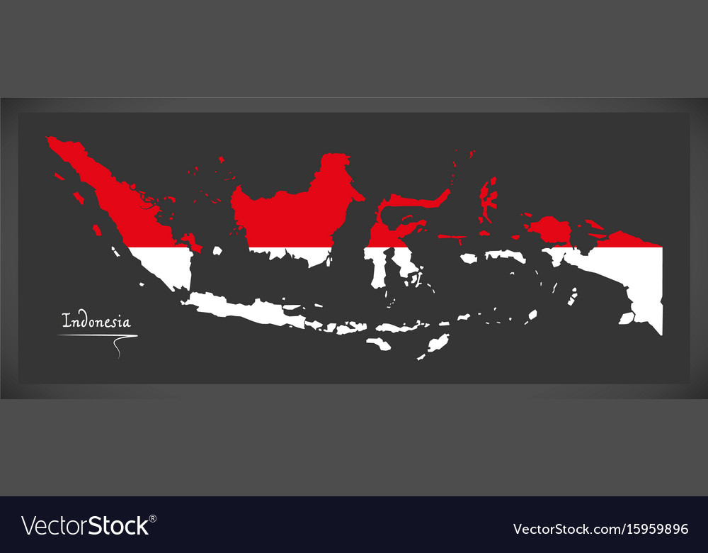 Indonesia map with indonesian national flag vector image