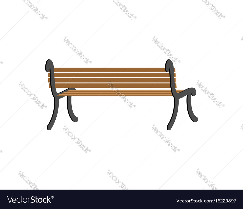 Bench back view wooden park isolated on white vector image