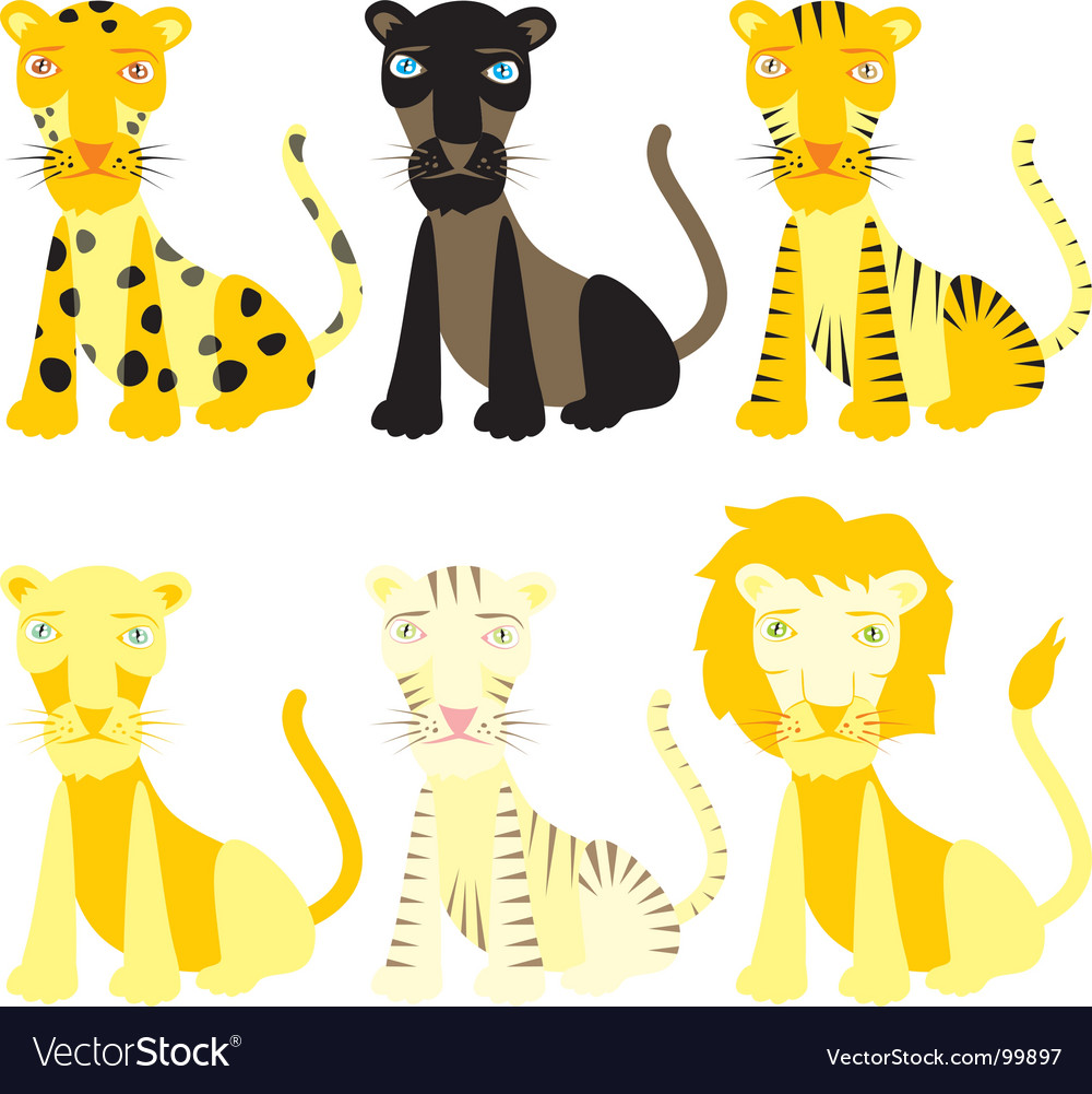 Isolated felines vector image