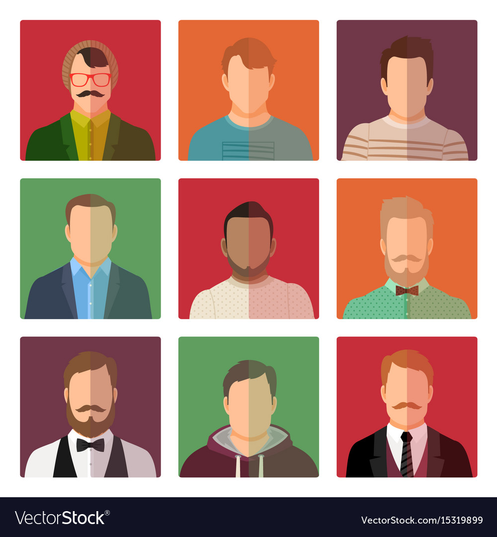 Male avatars in different style clothes vector image