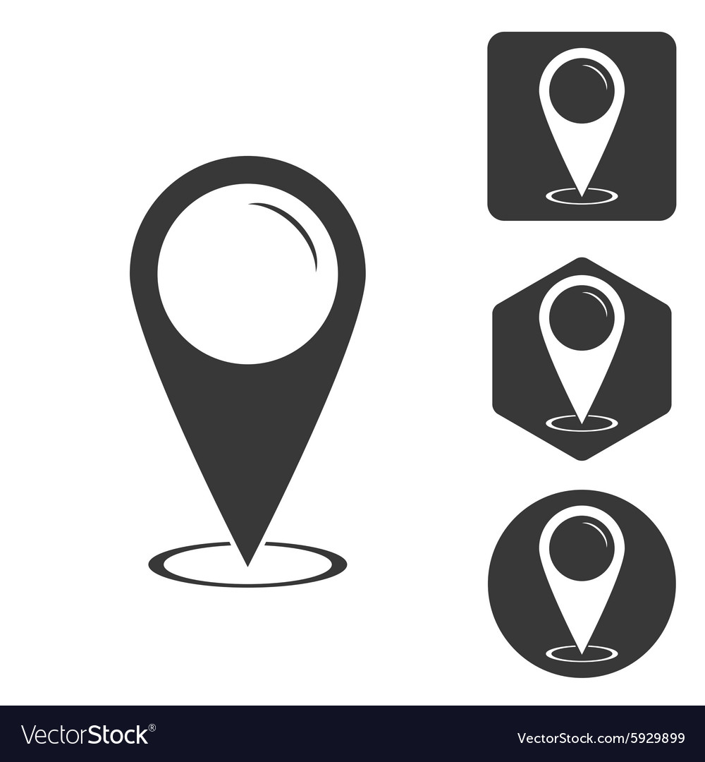 Map pointer icon set monochrome vector image
