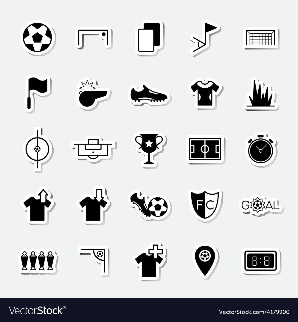 Soccer sticker icons set vector image