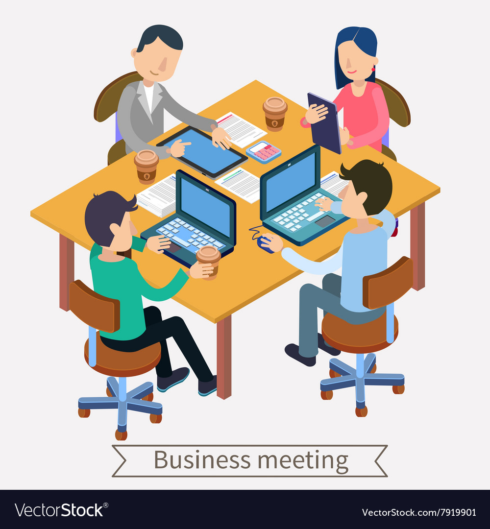 Business Meeting and Teamworking Isometric vector image