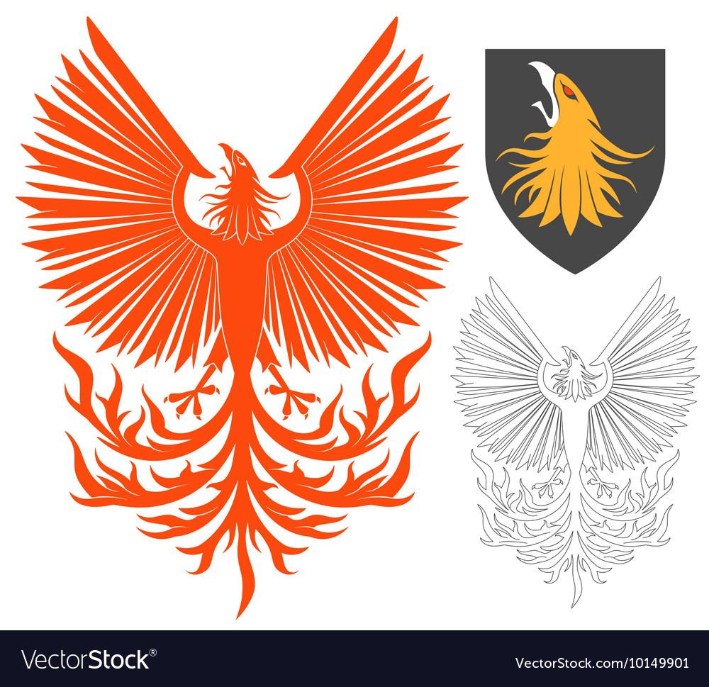 Red Phoenix Bird vector image