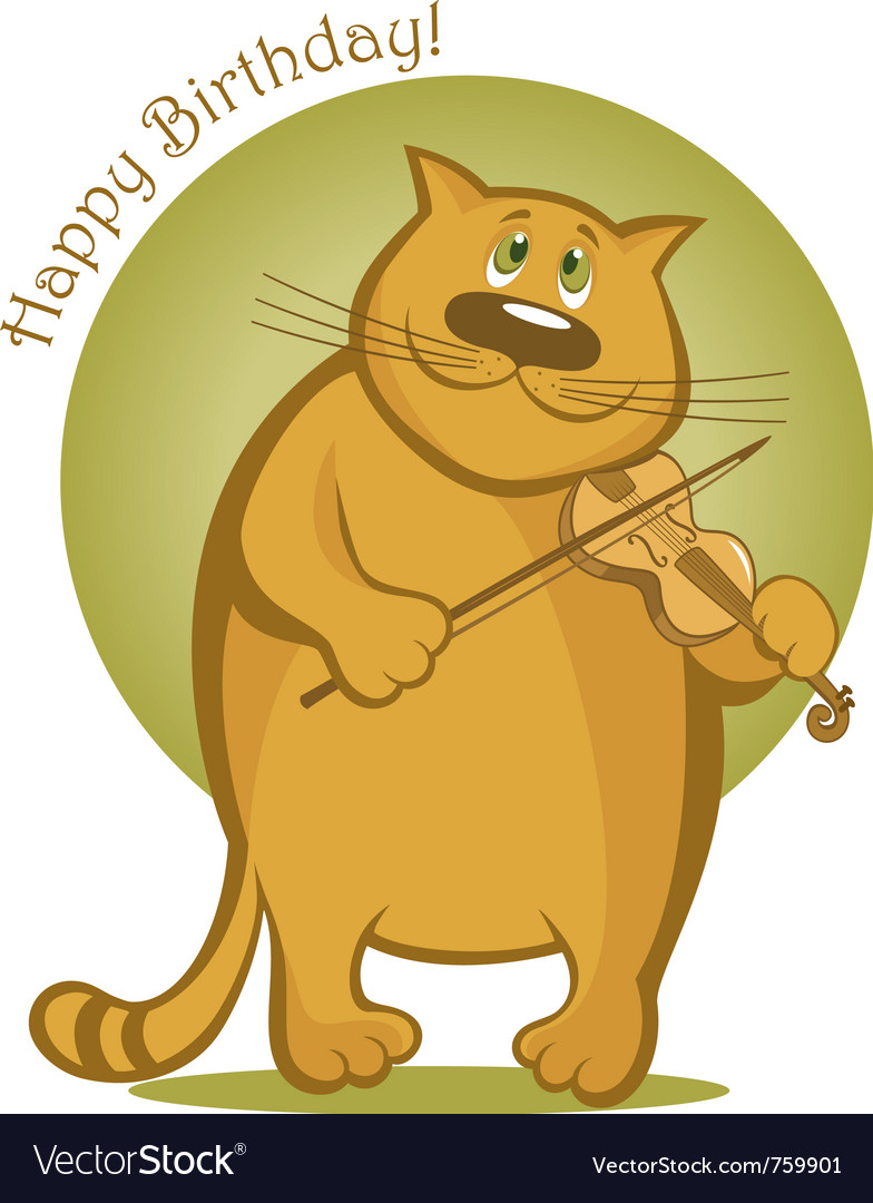 Smiling cat playing the violin