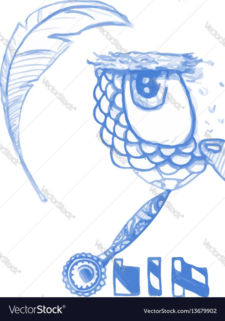 Owl isolated cute boho pattern bird blue vector image
