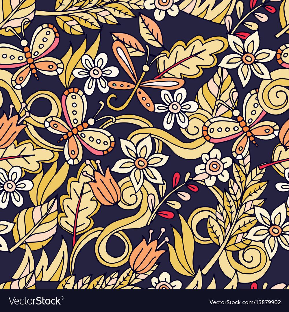 Summer seamless pattern leaves butterflies vector image