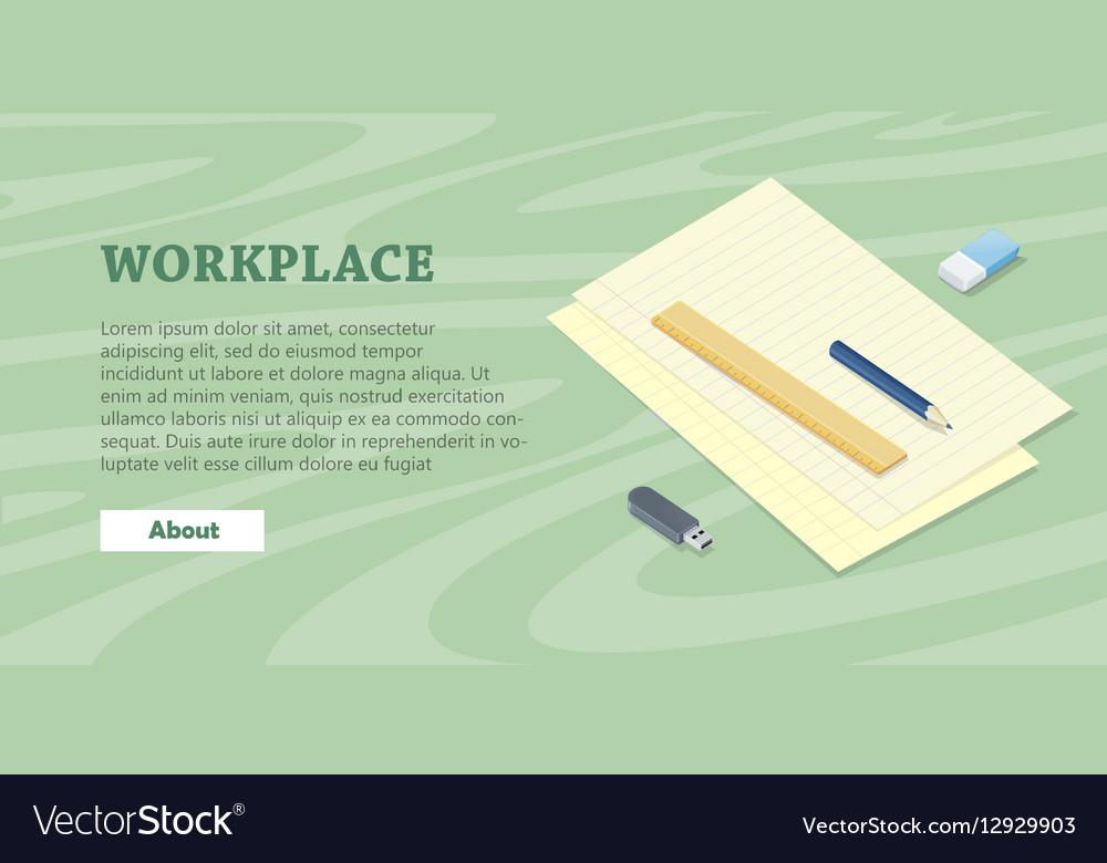 Desk with Sheet of Paper Pencil Ruler Eraser Flash vector image