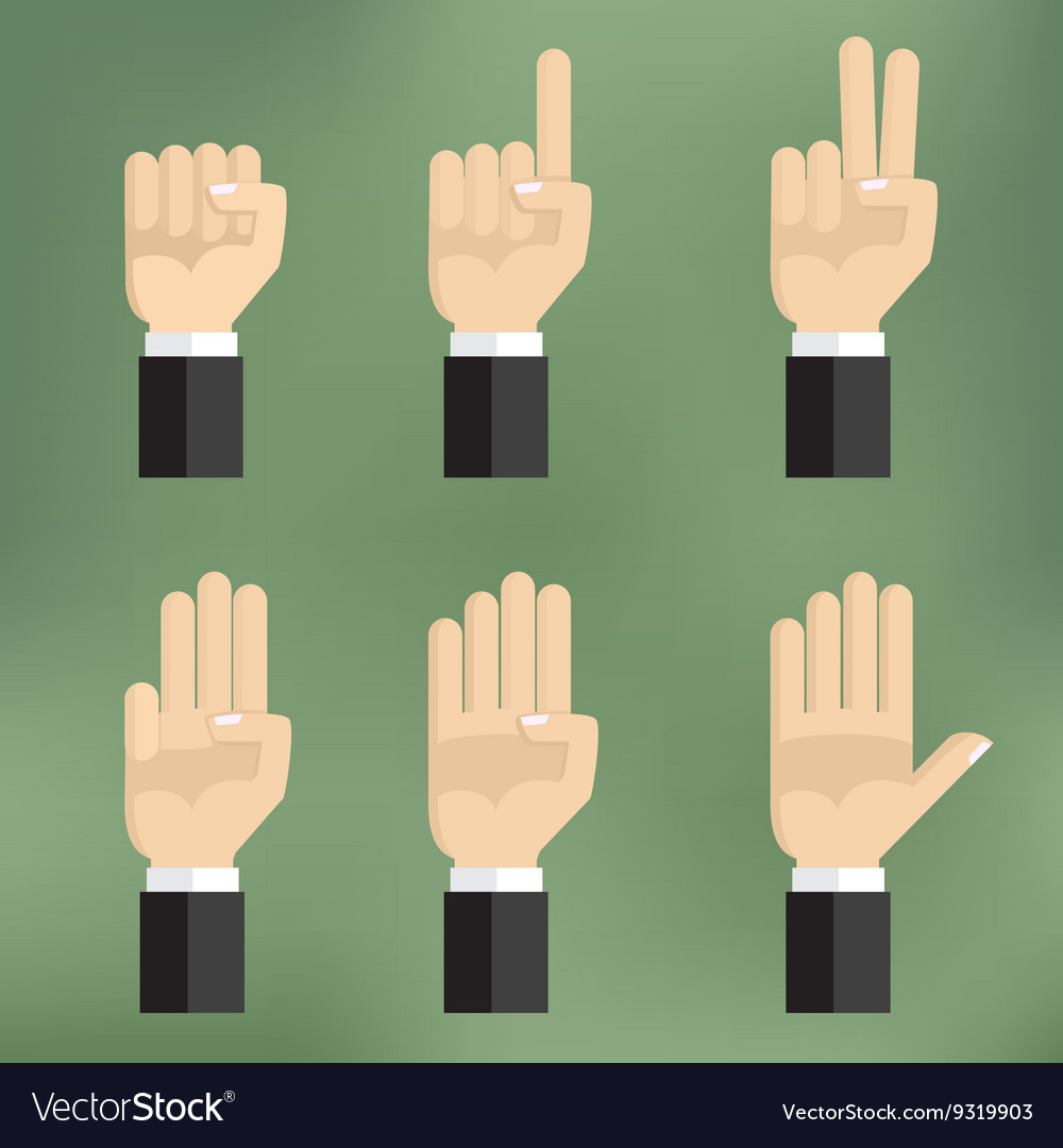 Set of counting hand sign from one to five vector image