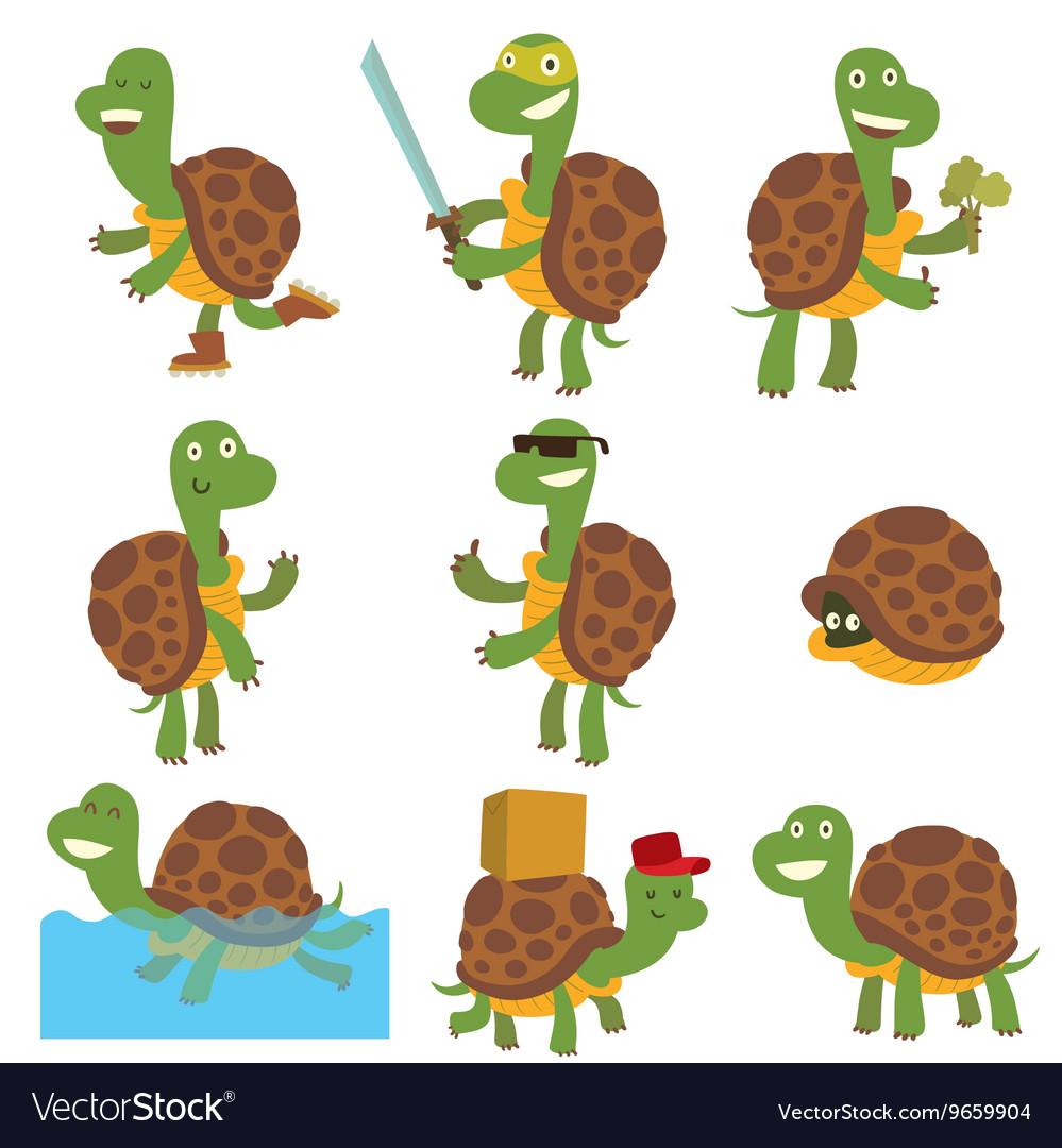 Cartoon turtles set Royalty Free Vector Image  VectorStock