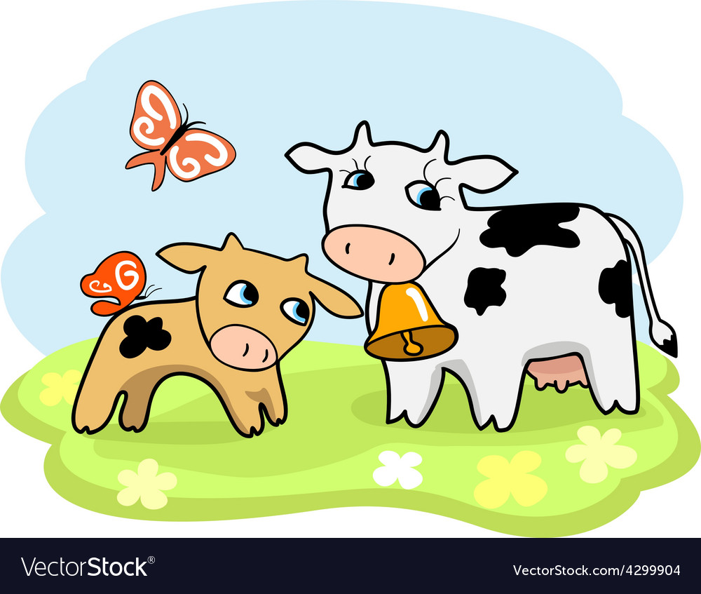 Cow and calf Royalty Free Vector Image - VectorStock for Cow And Calf Clipart  59dqh