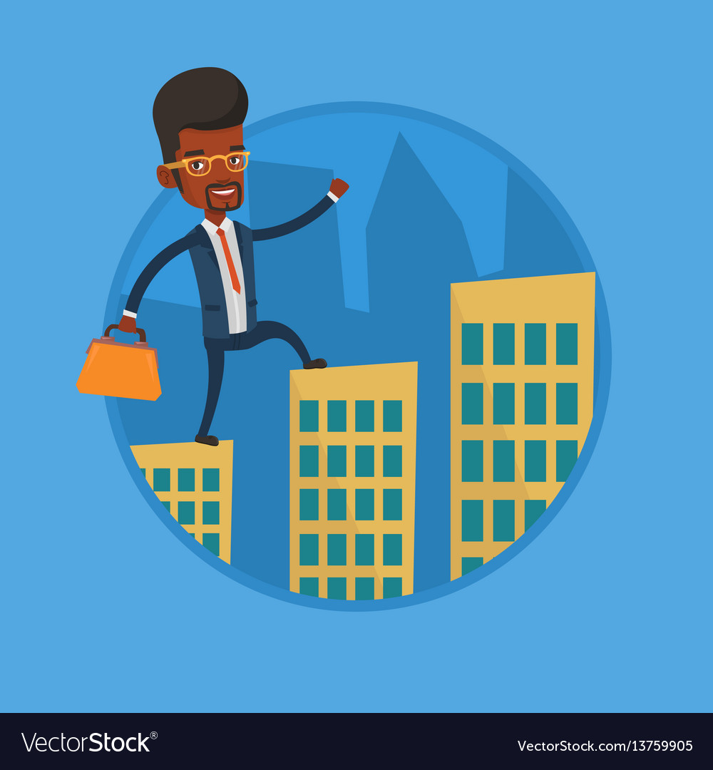 Business man walking on the roofs of buildings vector image