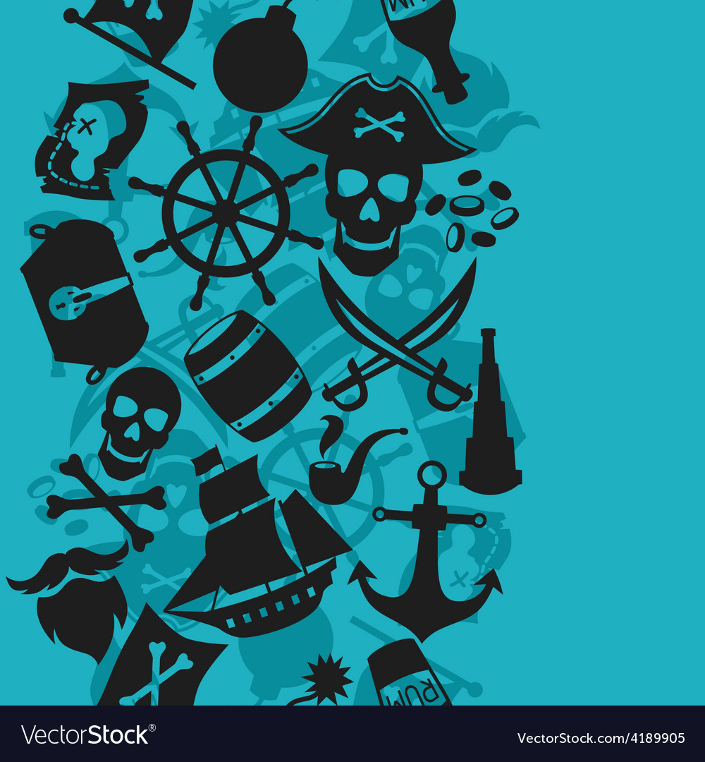 Seamless pattern on pirate theme with objects and vector image