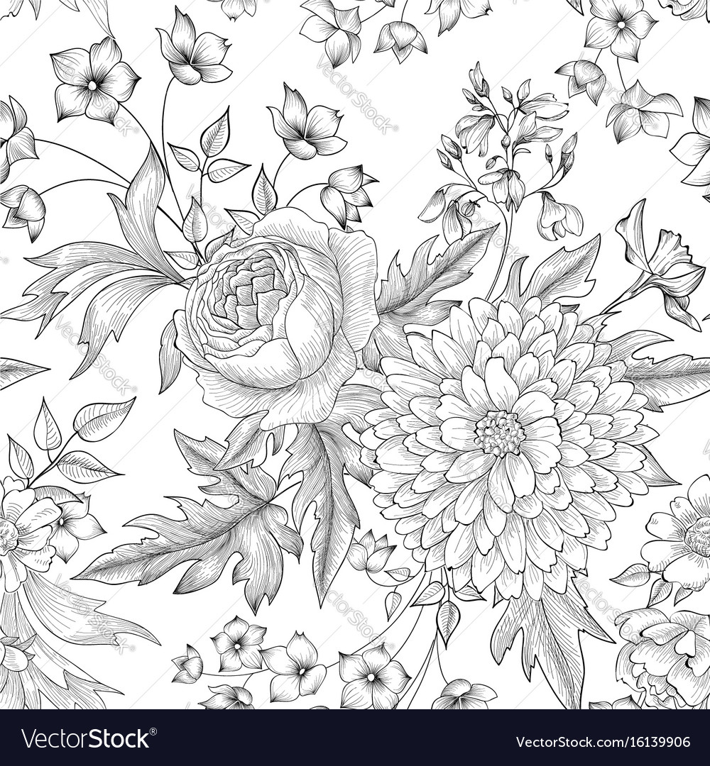 Floral seamless pattern flower bouquet background vector image