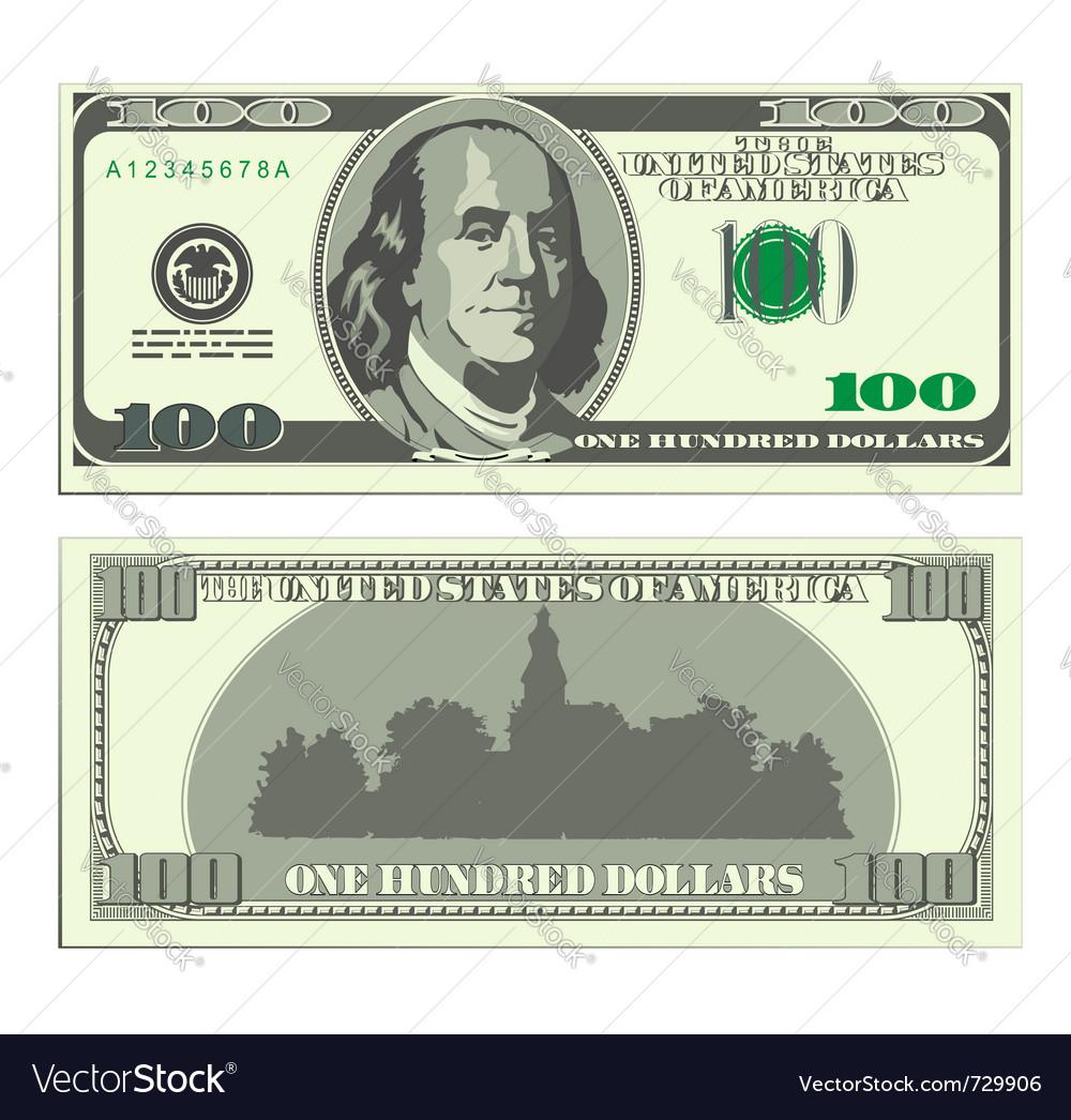 Hundred dollar banknote vector image