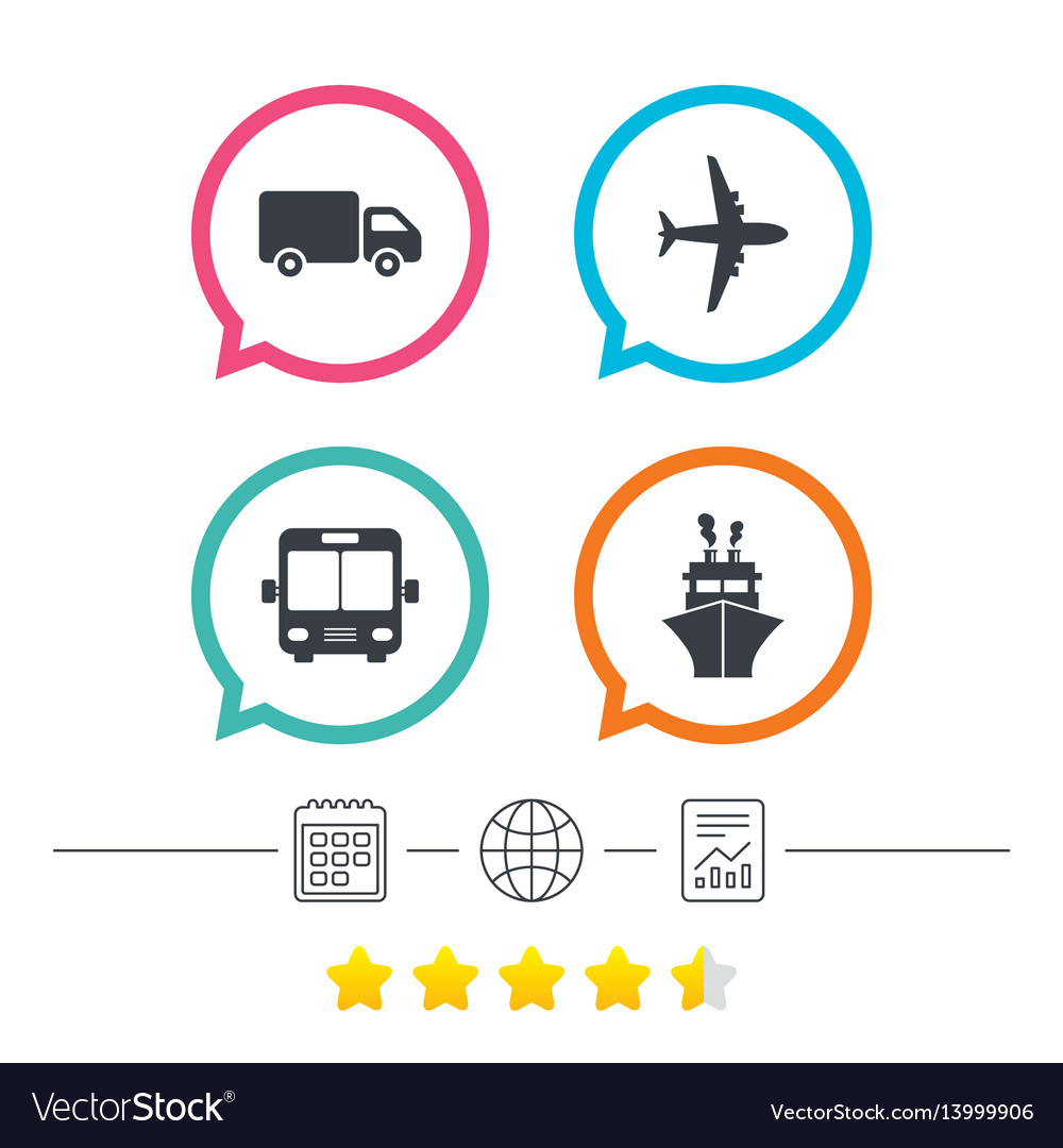 Transport icons truck airplane bus and ship vector image