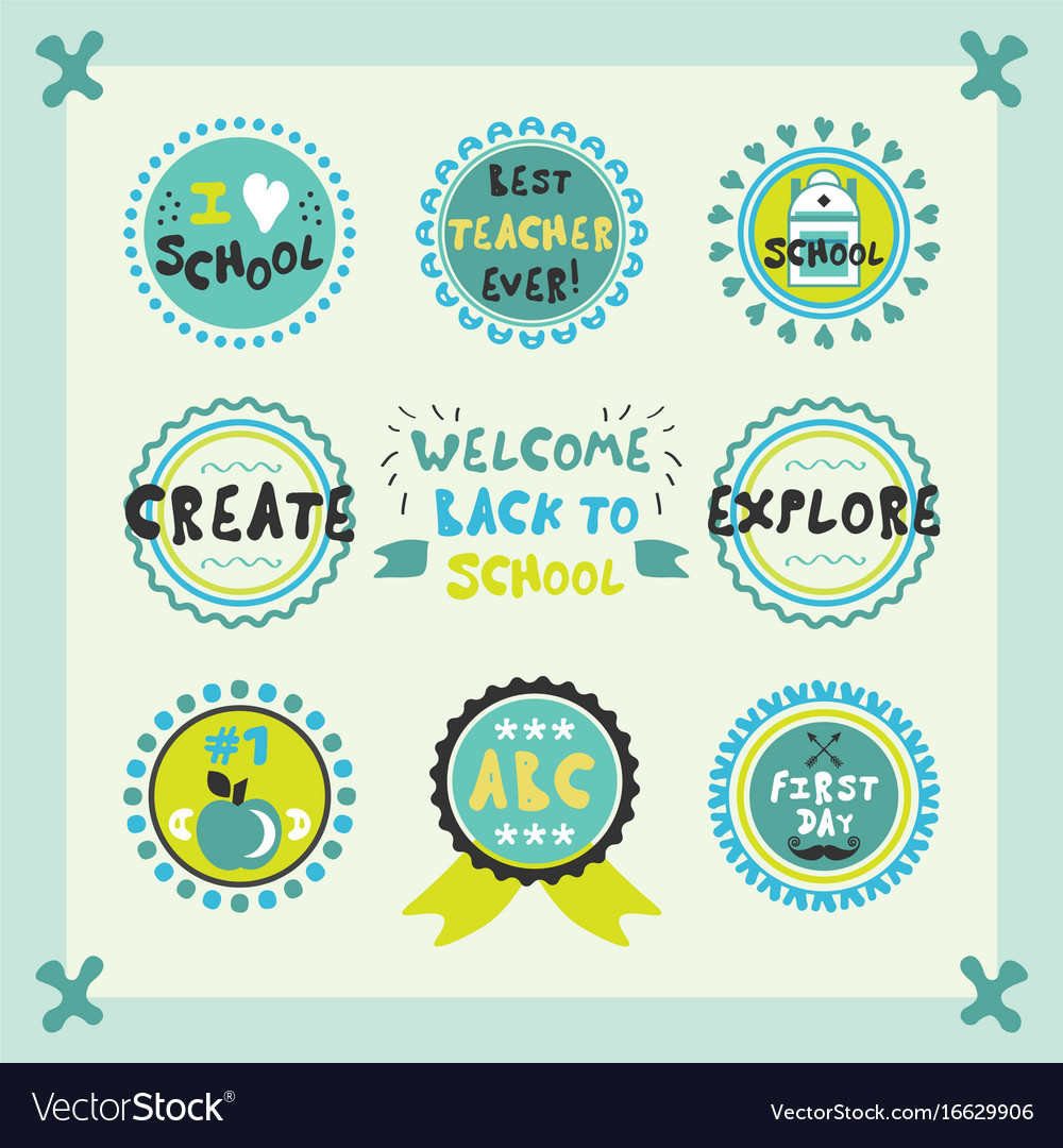 Welcome back to school cute circle emblems set vector image