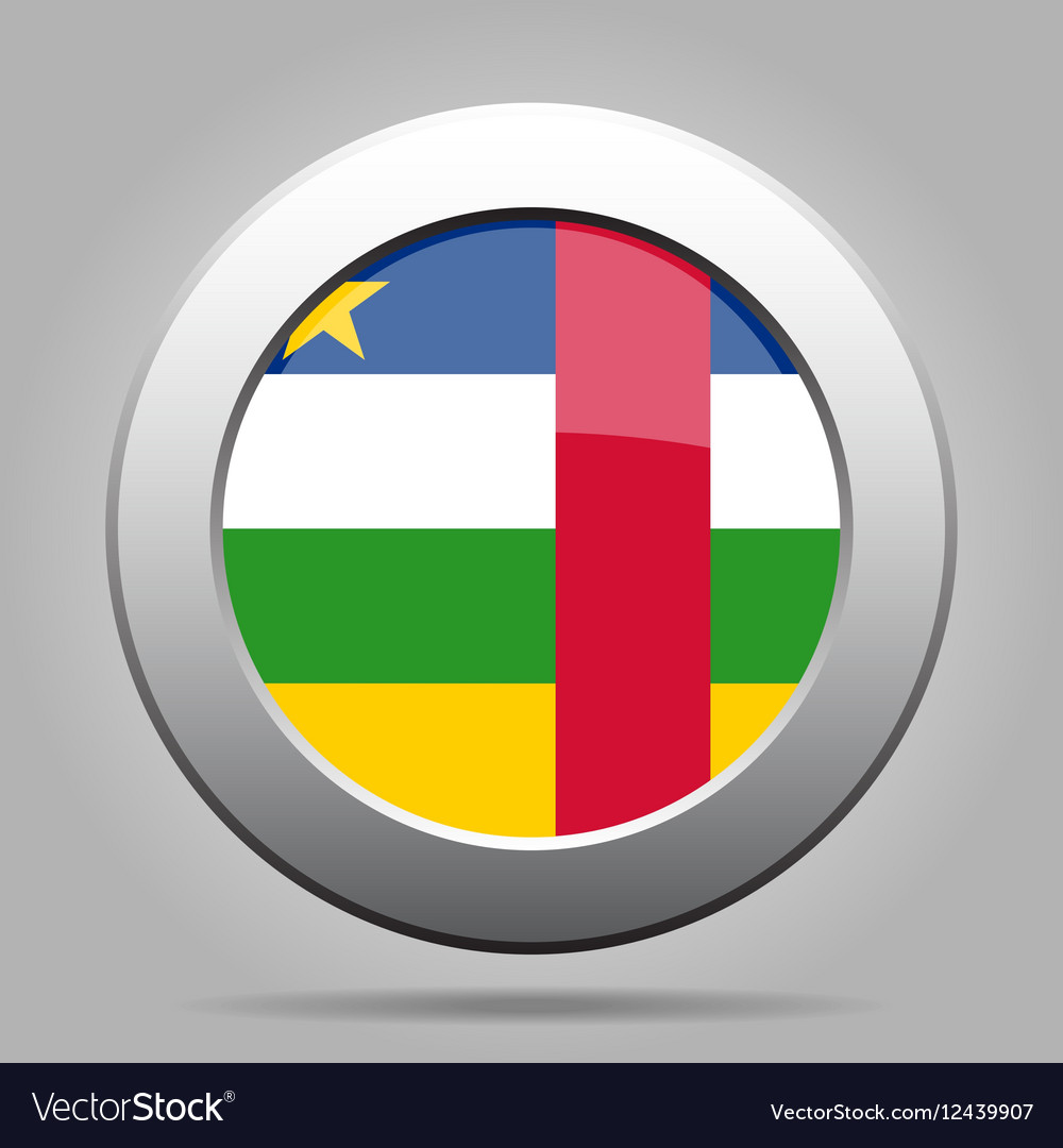 Central African Republic flag metal round button vector image
