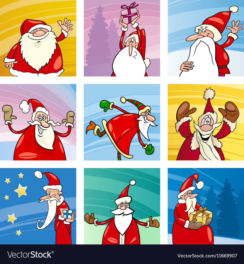 Christmas cartoon Santa elements set vector image