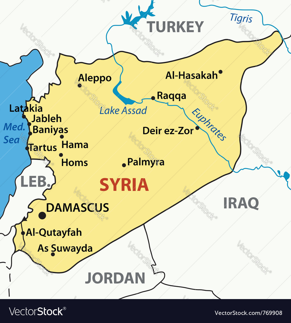 Map Of Syria Royalty Free Vector Image VectorStock - Map of syria