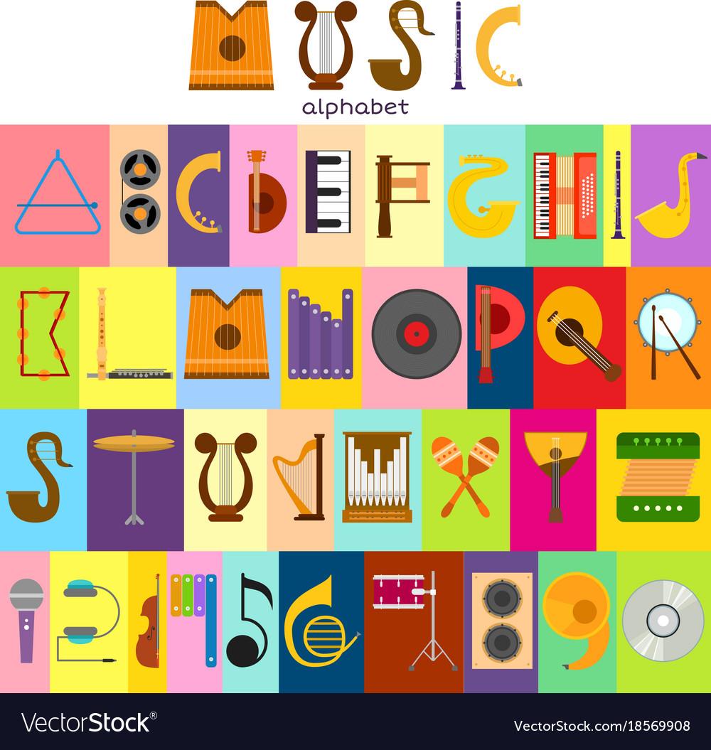 Music alphabet font text symbols musical vector image buycottarizona Gallery