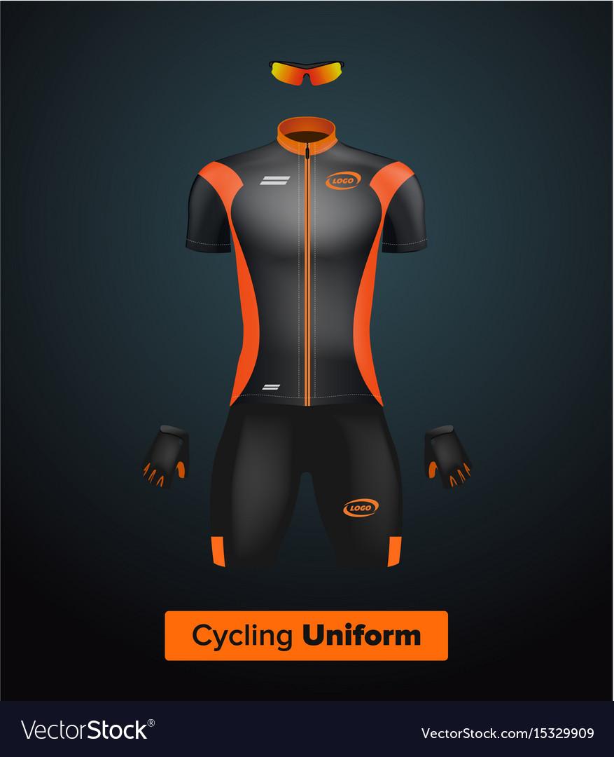 Realistic cycling uniform template black vector image