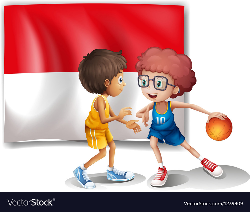 The flag of Indonesia at the back of the vector image
