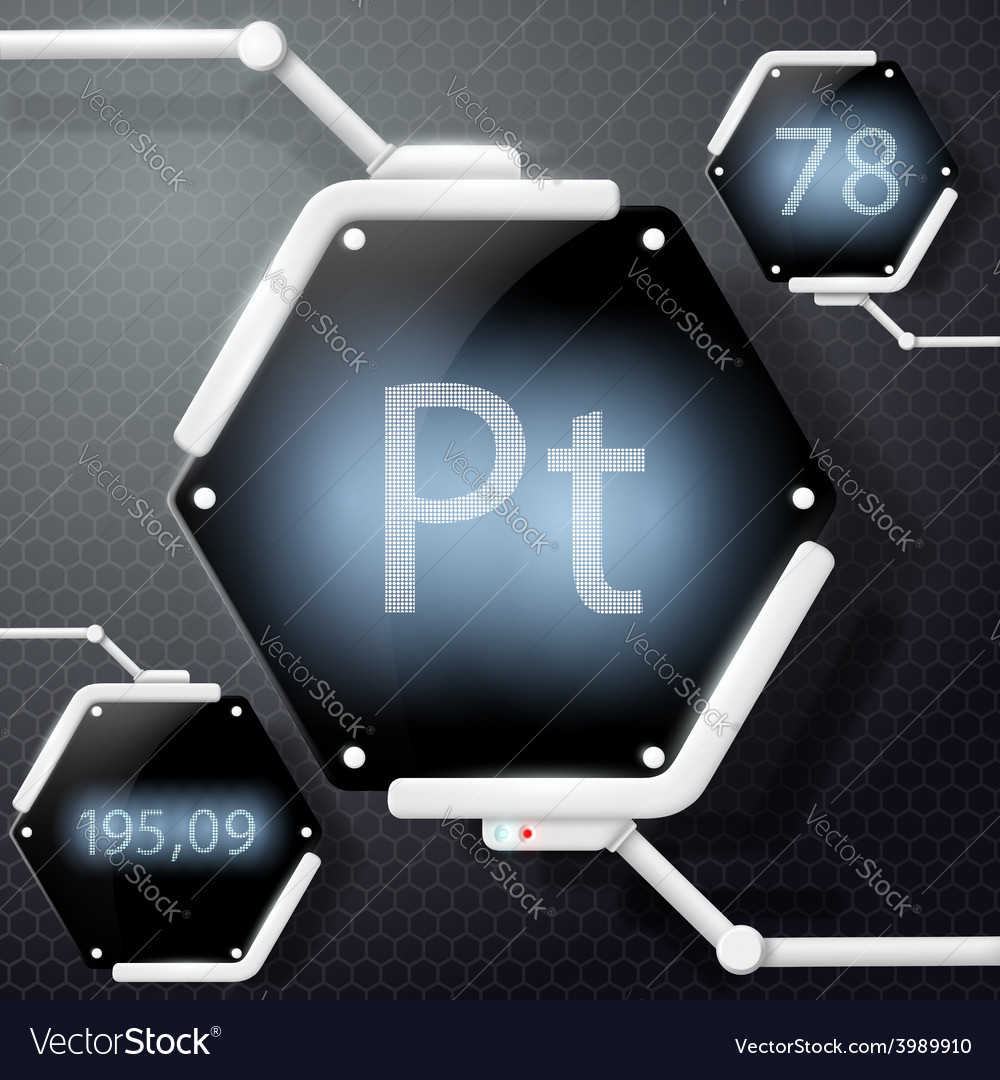 Chemical element platinum vector image