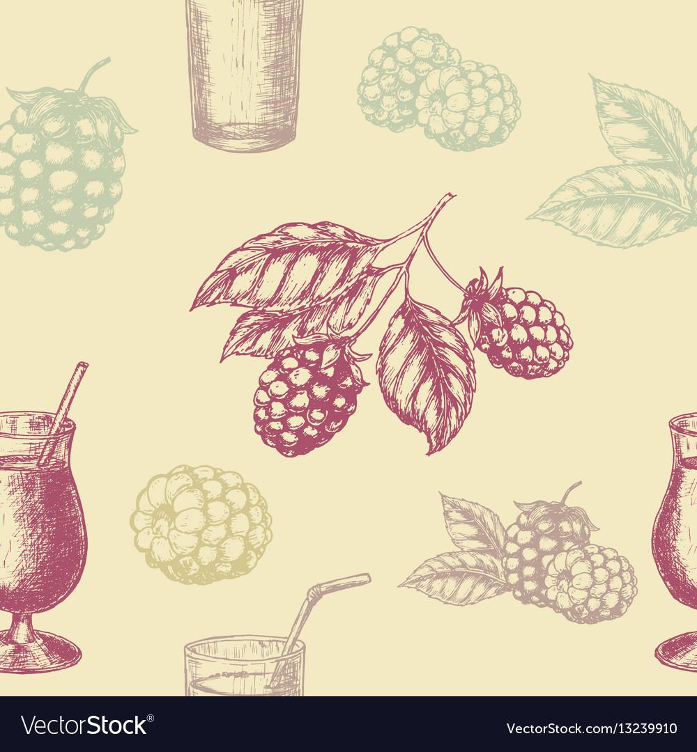 Raspberry blackberry and milkshakes seamless vector image