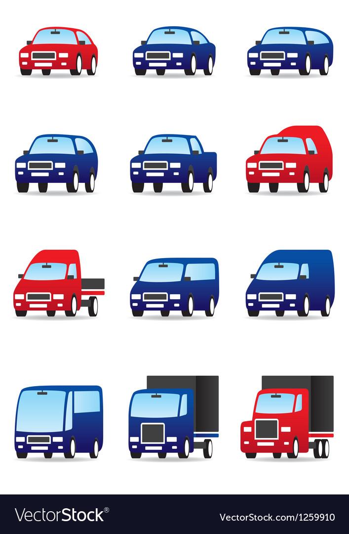 Road transportations icon set vector image