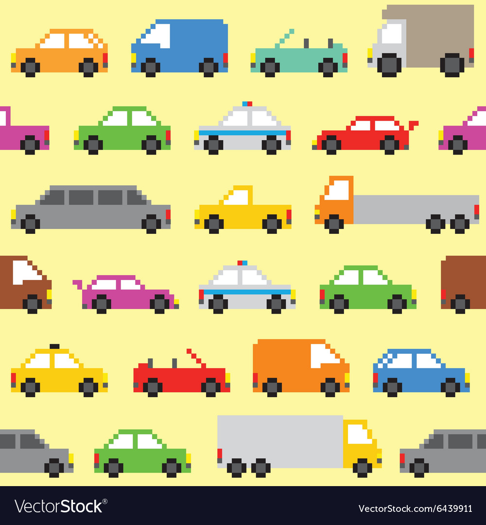 Pixel art cars seamless pattern vector image