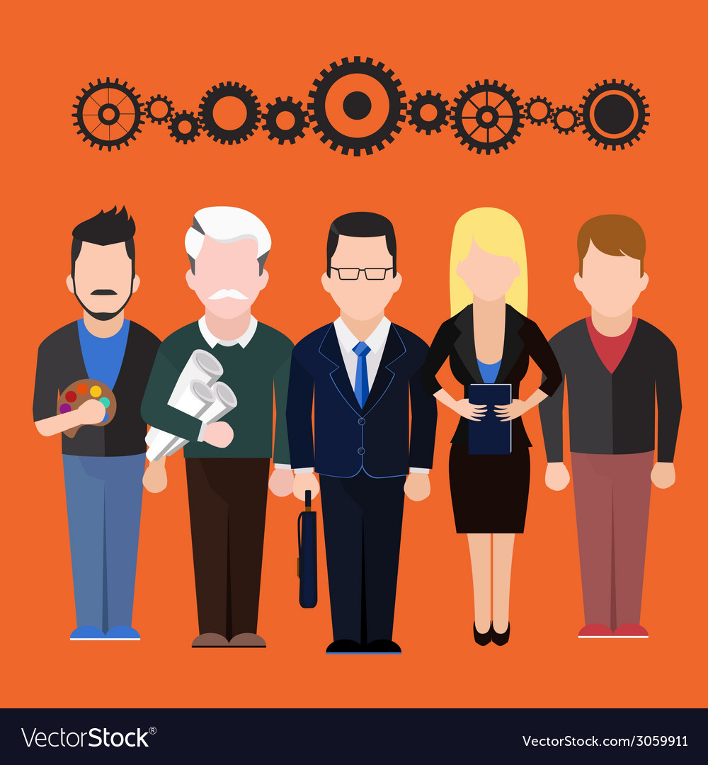 Set characters silhouettes of people different vector image