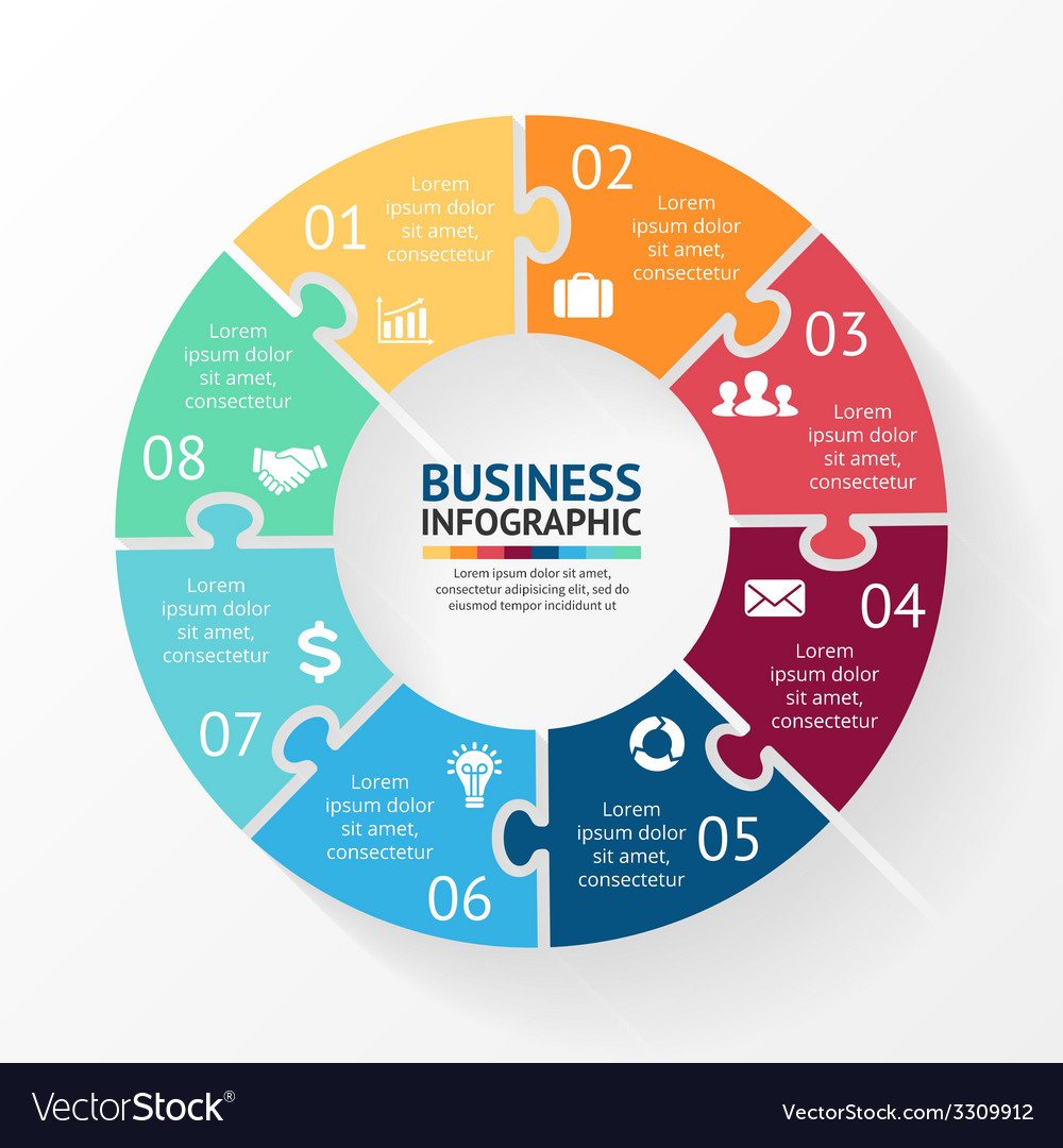 Circle puzzle infographic Template for diagram Vector Image