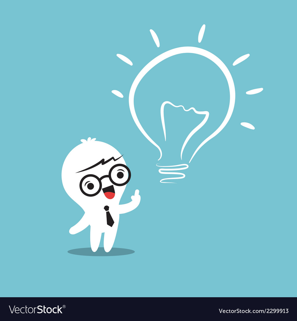 Eureka lightbulb idea cartoon vector image