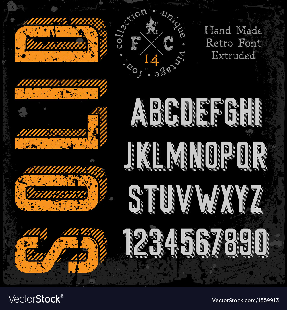 Handmade retro font extruded vector image