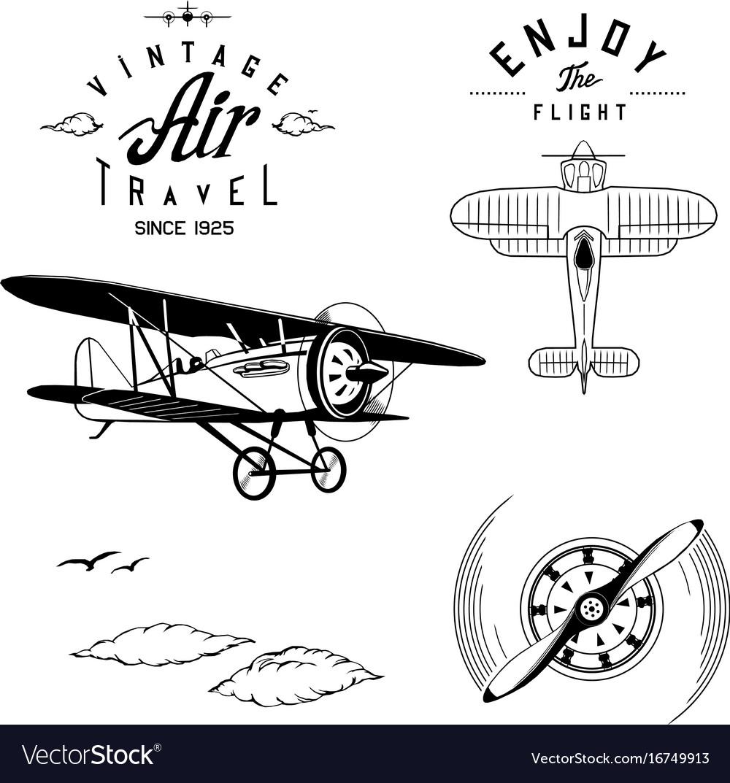 Vintage aviation set vector image