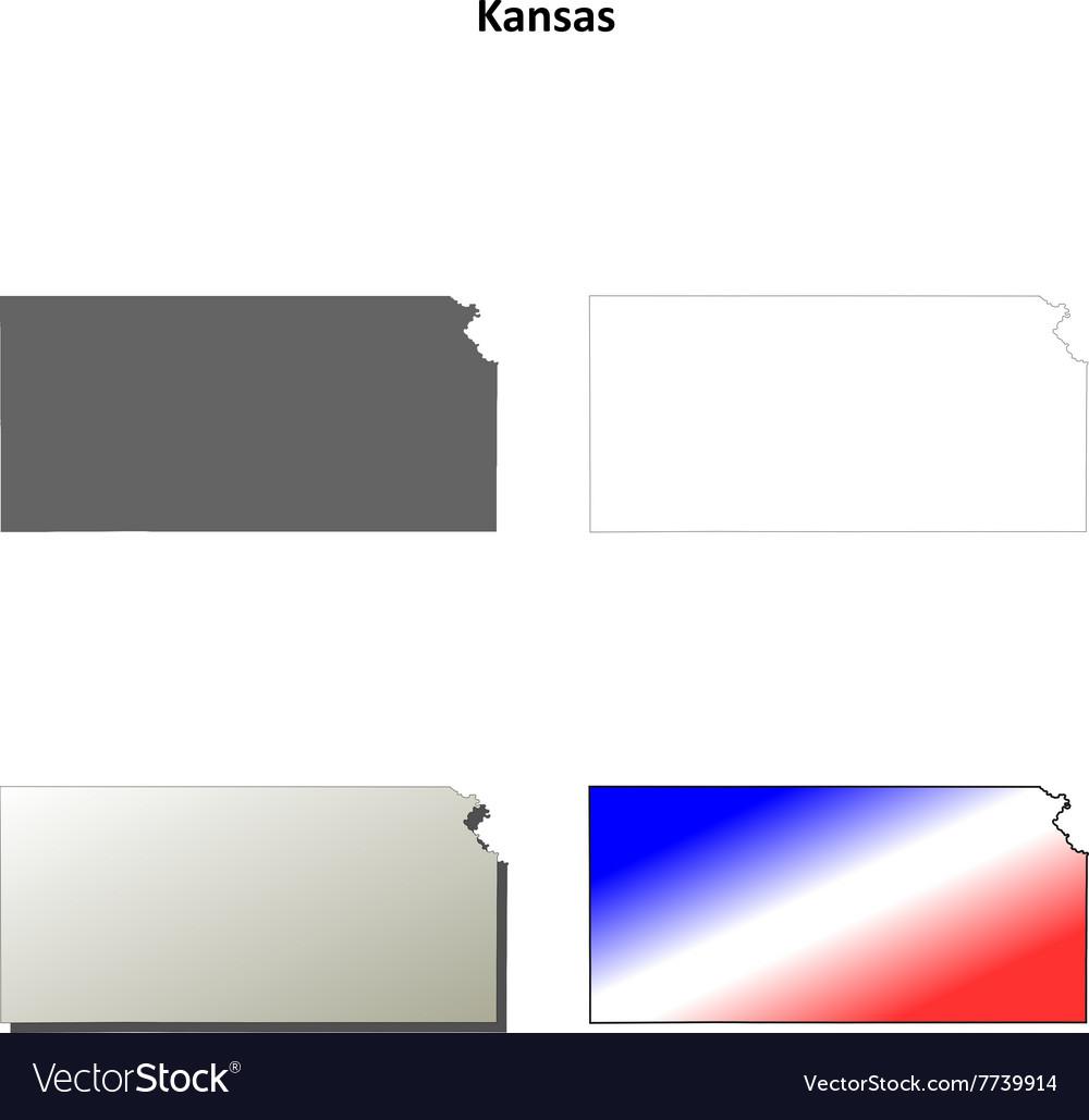 Kansas outline map set vector image