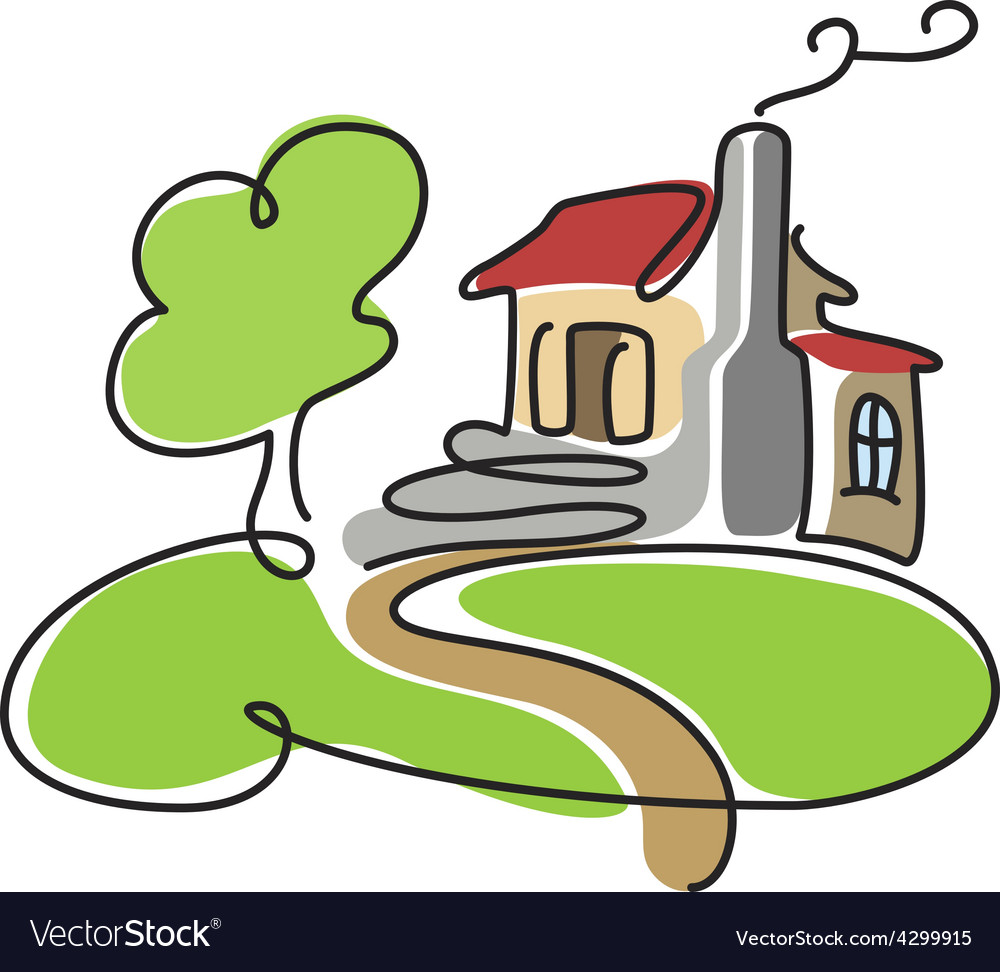 Cartoon house icon vector image