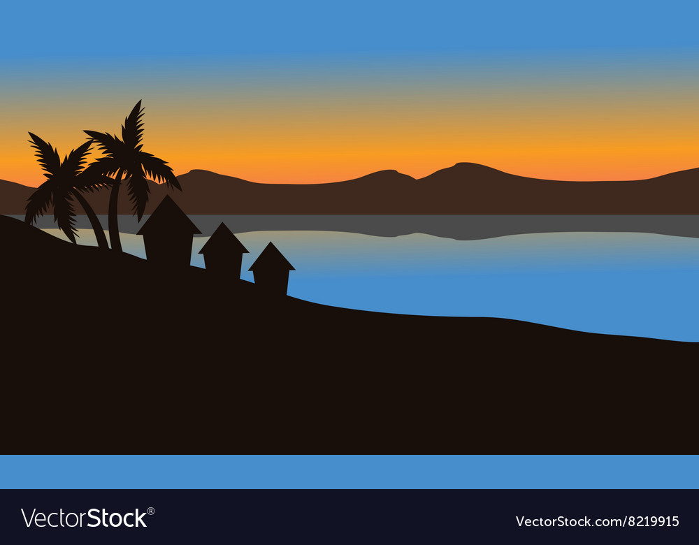 Silhouette of house on the beach vector image